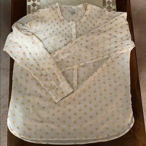 Star print jcrew peasant blouse